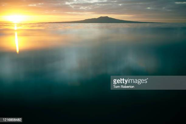 rangitoto island from water level - seascape stock pictures, royalty-free photos & images