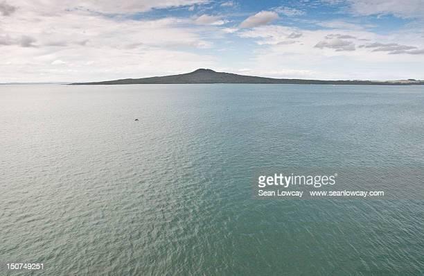 Rangitoto volcano and Hauraki Gulf sea