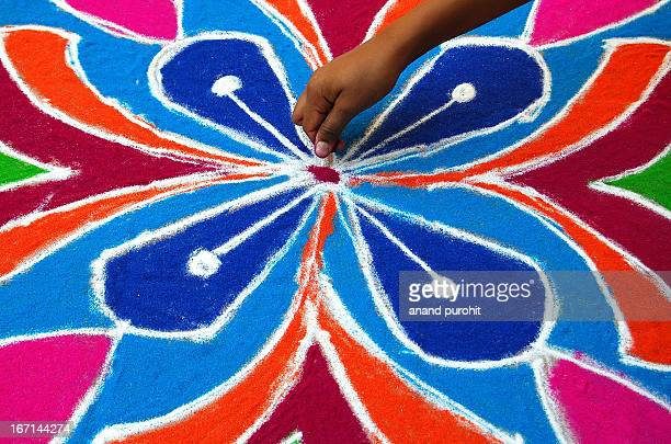 CONTENT] Rangoli also known as kolam is a folk art from India Rangoli are decorative designs made on living room and courtyard floors during Hindu...