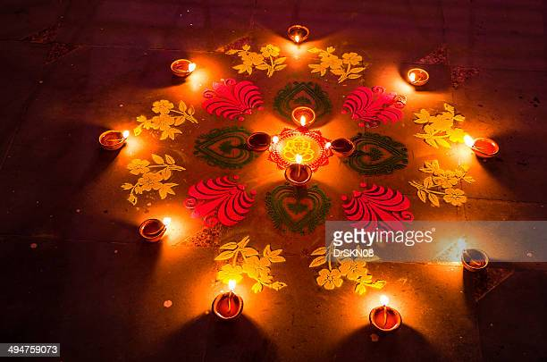 Rangoli and candles in Diwali nights