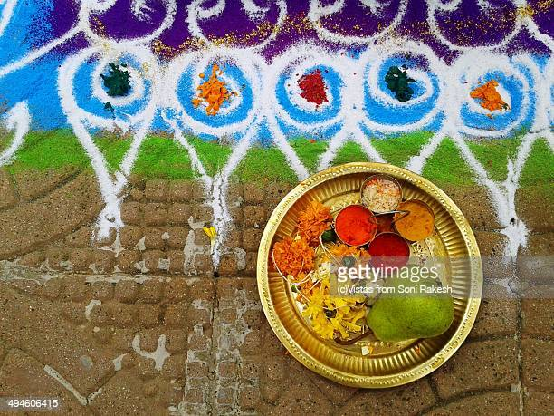 Rangoli and decorative puja(worship)  thali (plate