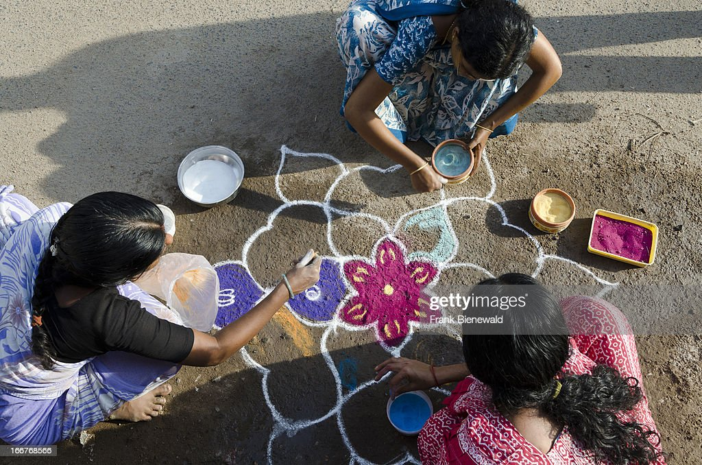 Rangoli are decorative sanddesigns made on floors of living... : News Photo