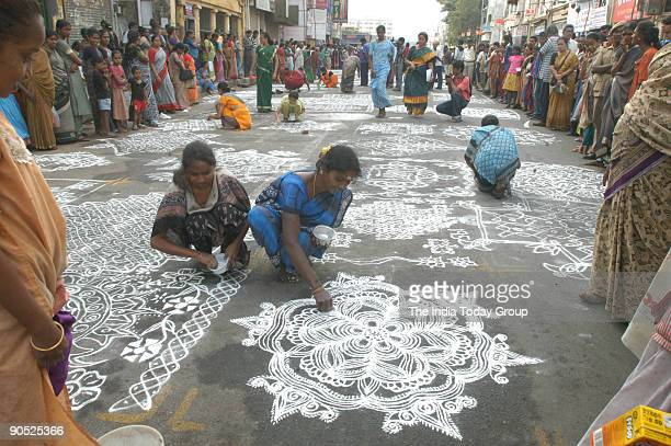 Rangoli competition during the annual Mylapore festival in Chennai Tamil Nadu India
