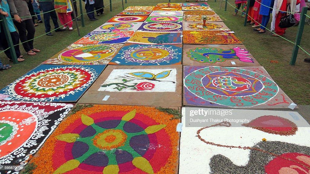 Rangoli designs on display : Stock Photo