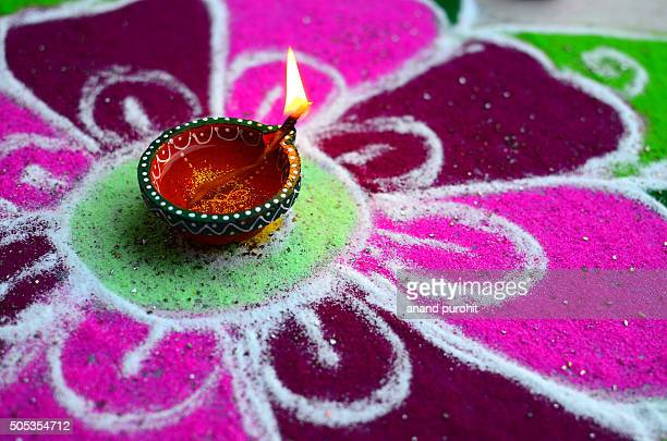 Rangoli with Diya, Diwali festival background, India