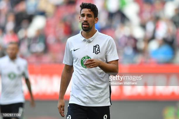 Rani Khedira of Augsburg looks on during the Bundesliga match between FC Augsburg and RB Leipzig at WWKArena on October 20 2018 in Augsburg Germany