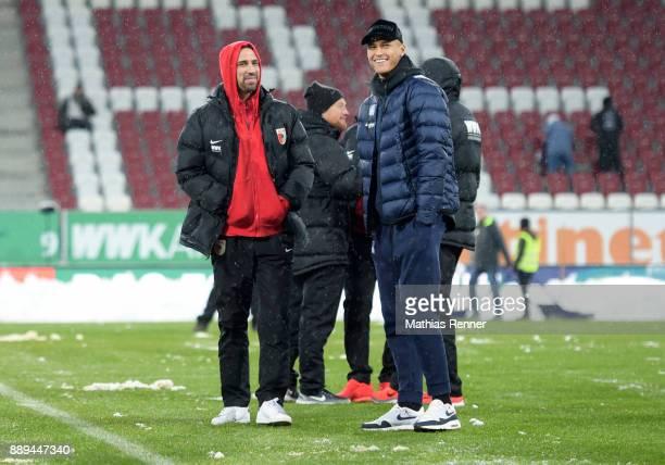 Rani Khedira of FC Augsburg and Davie Selke of Hertha BSC before the game between dem FC Augsburg and Hertha BSC on december 10 2017 in Augsburg...
