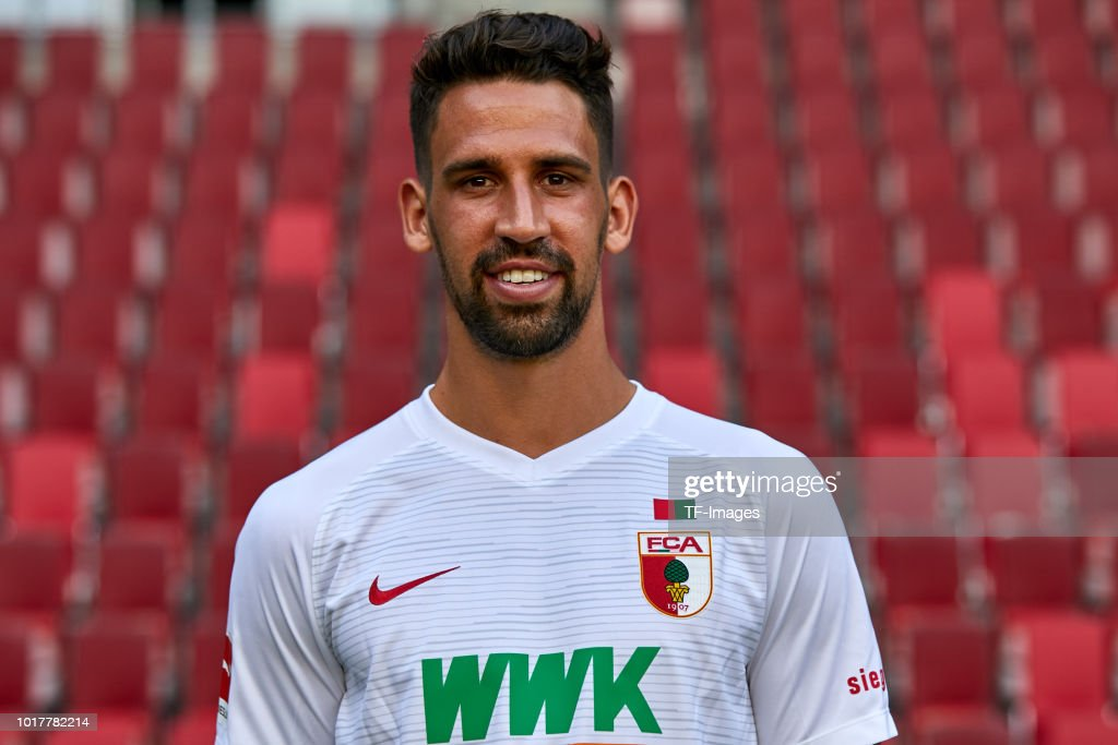 Rani Khedira of FC Augsburg poses during the team presentation at WWK Arena on August 9, 2018 in Augsburg, Germany.