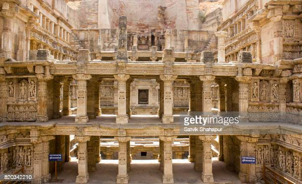rani ki vav - unesco heritage stepwell in gujarat - stepwell stock photos and pictures
