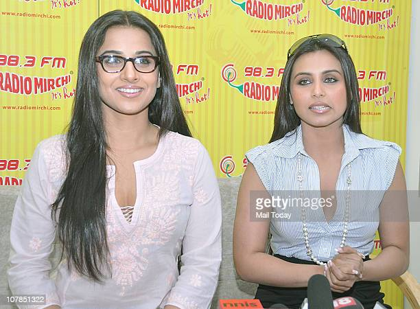 Rani Mukerji along with Vidya Balan during the promotional event of her upcoming film 'No One Killed Jessica' at Radio Mirchi 983 FM Studio in Mumbai