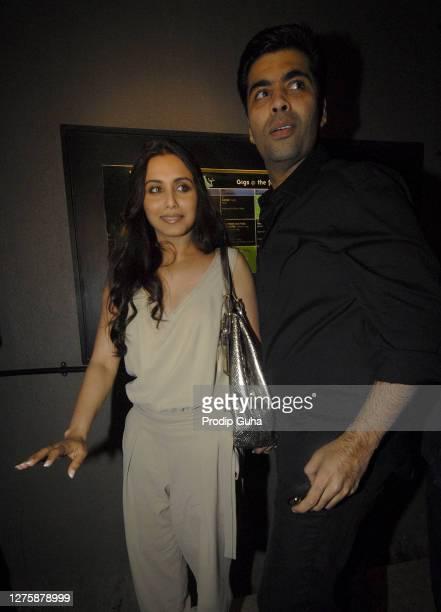 Rani Mukherjee and Karan Johar attend the music launch of the movie 'Peepli Live' on July 13, 2010 in Mumbai, India