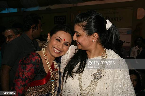 Rani Mukherjee and Vaibhavi Merchant during Durga Pooja celebrations at a pandal in Mumbai on October 15 2010
