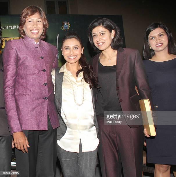Rani Mukherjee Anjum Chopra and Devita Saraf at the launch of book Women`s Cricket World coauthored by former India women cricket team captain Anjum...