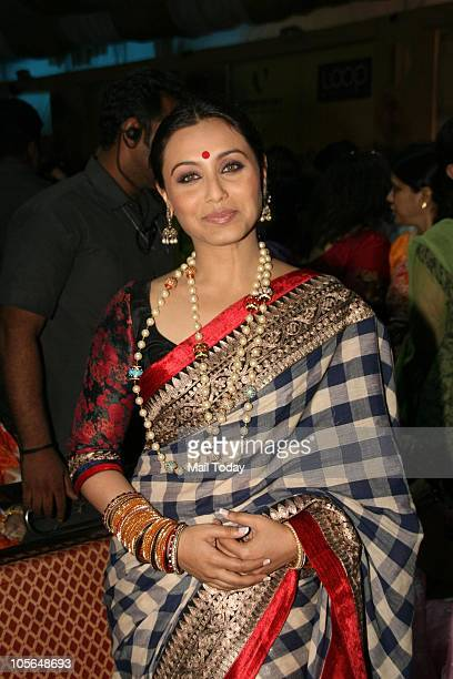 Rani Mukherjee during Durga Pooja celebrations at a pandal in Mumbai on October 15 2010