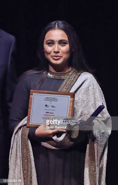 Rani Mukherjee receives the Excellence in Cinema award during the Westpac IFFM Awards Night 2018 at The Palais Theatre on August 12 2018 in Melbourne...