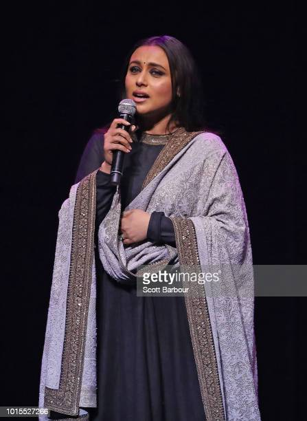 Rani Mukherjee sings on stage after receiving the Excellence in Cinema award during the Westpac IFFM Awards Night 2018 at The Palais Theatre on...