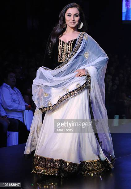 Rani Mukherjee walks the ramp at the Being Human foundation show at day four of the HDIL Couture week in Mumbai on October 9 2010