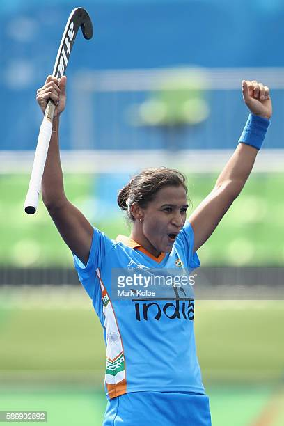 Rani of India celebrates scoring a goal during the women's pool B match between Japan and India on Day 2 of the Rio 2016 Olympic Games at the Olympic...
