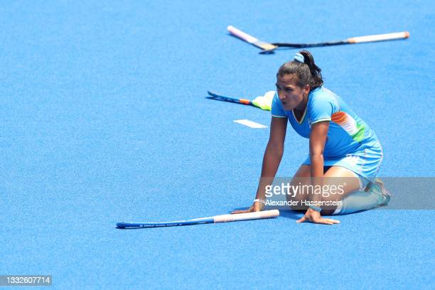Rani of Team India reacts after losing the Women's Bronze medal match between Great Britain and India on day fourteen of the Tokyo 2020 Olympic Games...