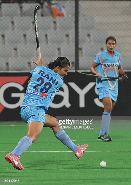Rani Rampal of India plays a shot during the women's field hockey match between India and Poland of the FIH London 2012 Olympic Hockey qualifying...