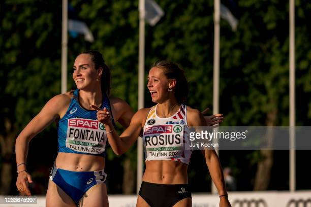 Rani Rosius from Belgium and Vittoria Fontana from Italy celebrate after the Women's 100m Semi-Final 1 during the 2021 European Athletics U23...