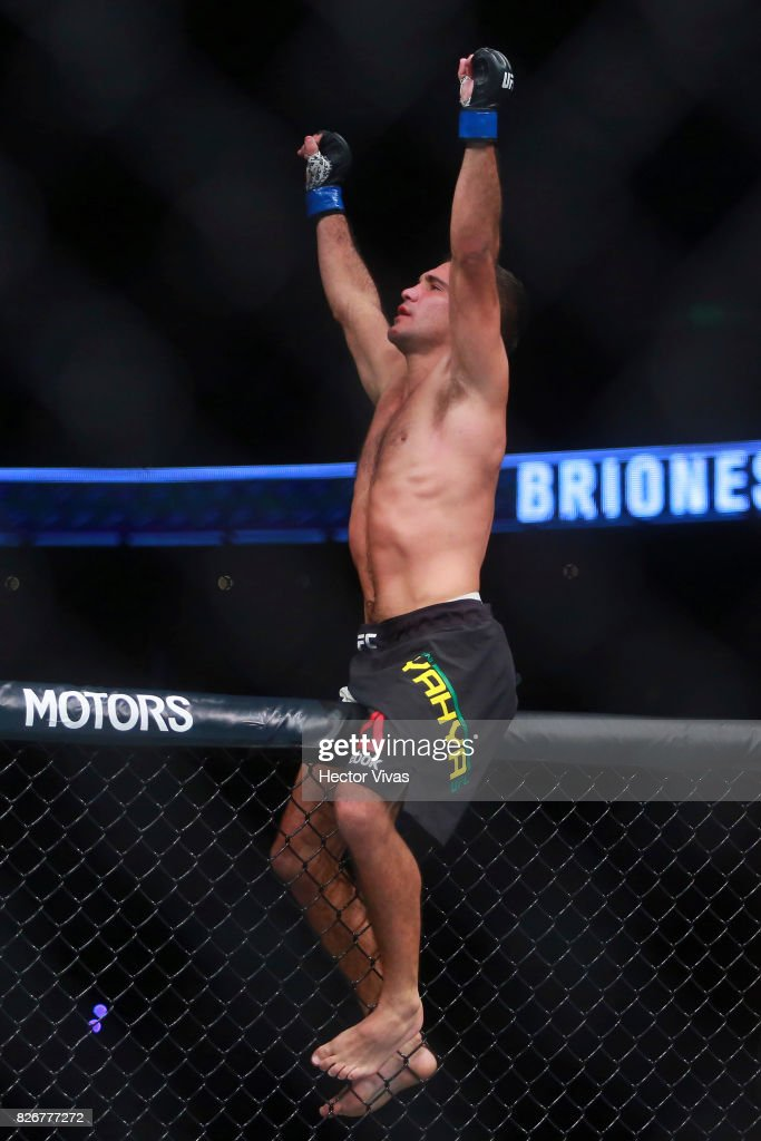 Rani Yahya of Brazil celebrates his victory against Henry Briones during the UFC Fight Night Mexico City at Arena Ciudad de Mexico on August 05, 2017 in Mexico City, Mexico.