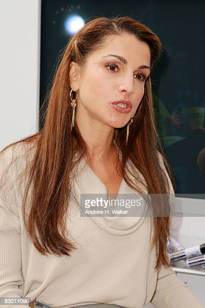 Rania Al Abdullah Queen of Jordan attends the launch of the In My Name global campaign at Dag Hammarskjold Plaza on September 25 2008 in New York City