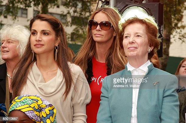 Rania Al Abdullah Queen of Jordan Elle Macpherson and former President of Ireland Mary Robinson attend the launch of the In My Name global campaign...