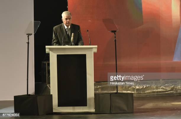 Ranil Wickremesinghe Prime Minister of Sri Lanka at the inauguration of GCCS 2017 at Aerocity on November 23 2017 in New Delhi India