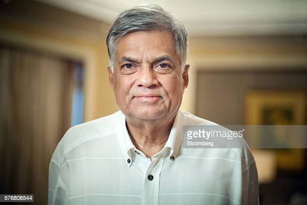 Ranil Wickremesinghe, Sri Lanka's prime minister, stands for a photograph following an interview in Singapore, on Sunday, July 17, 2016. Sri Lanka is...