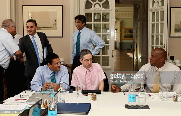 Ranjan Madugalle ICC Chief match referee David Kendix statistition and Ian Bishop former West Indies fast bowler during the ICC Cricket Committee...