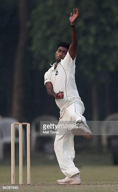 Ranji Cricket Player of Delhi Parvinder Awana in action during Ranji Trophy Super League Group B match between Maharashtra and Delhi at Roshanara...