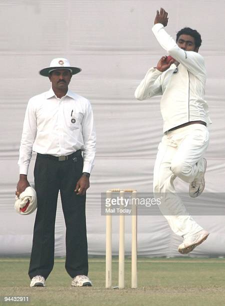 Ranji Player Parvinder Awana on the third day of the Ranji Trophy Super League Group B Match between Maharashtra and Delhi at the Roshana club Ground