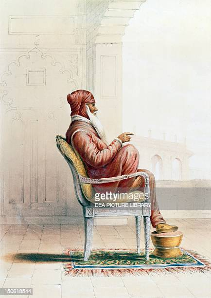 Ranjit Singh ruler of India and Maharaja of Punjab Portrait and coloured engraving from the Principles of the People of India by Emily Eden Table 13...