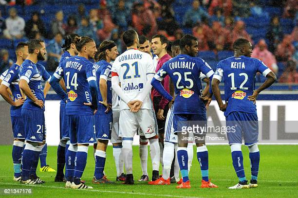 rank SCHNEIDER referee during the Ligue 1 match between Olympique Lyonnais and SC Bastia at Stade de Gerland on November 5 2016 in Lyon France