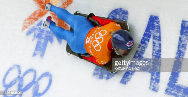 ranked first in the world cup Great Britain's Alex Coomber speeds through the ice channel during a women's skeleton training during the Salt Lake...
