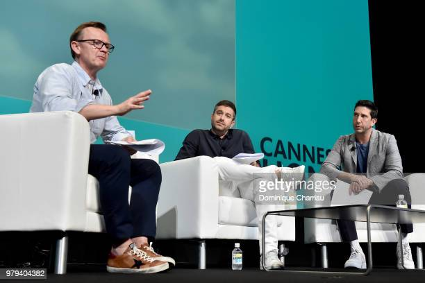 Rankin Carroll Ari Weiss and David Schwimmer speak onstage during the DDB Worldwide session at the Cannes Lions Festival 2018 on June 20 2018 in...