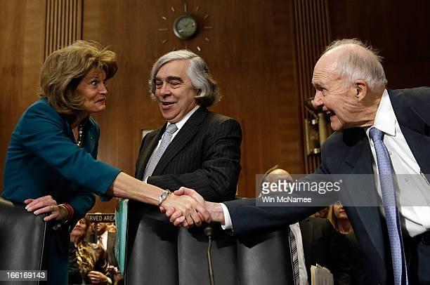 Ranking committee member Sen Lisa Murkowski greets former National Security Advisor Brent Scowcroft prior to Secretary of Energy nominee Ernest Moniz...