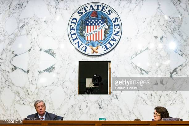 Ranking Member Diane Feinstein listens as Chairman Lindsey Graham delivers his closing remarks before the Senate Judiciary Committee on the fourth...