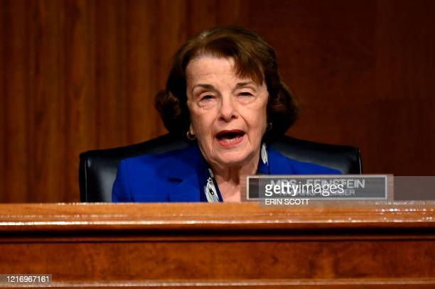 Ranking member Dianne Feinstein speaks at a Senate Judiciary Committee hearing titled Examining Best Practices for Incarceration and Detention During...