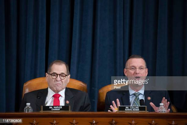 Ranking member Doug Collins speaks as Chair Rep. Jerry Nadler listens during testimony by lawyers for the House Judiciary Committee, Barry Berke...