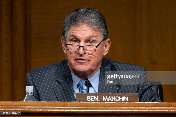 Ranking Member Joe Manchin, D-WV, speaks during a hearing to examine the nomination of Former Michigan Governor Jennifer Granholm to be Secretary of...