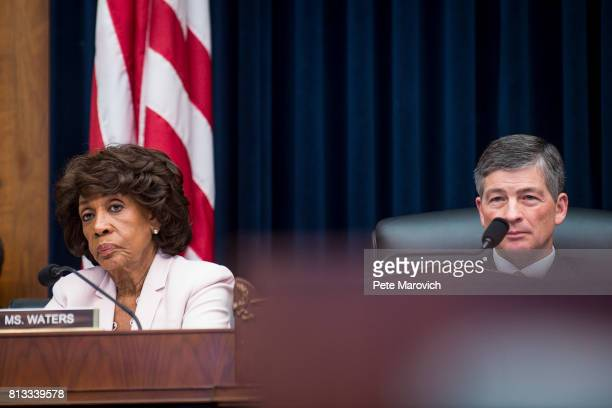 Ranking Member Maxine Waters and commitee Chairman Jeb Hensarling looks on as Federal Reserve Board Chairwoman Janet Yellen testifies before the...