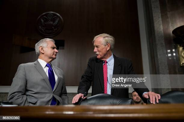 Ranking member of the committee Sen Jack Reed talks with Sen Angus King before the start of a Senate Armed Services Committee hearing concerning the...