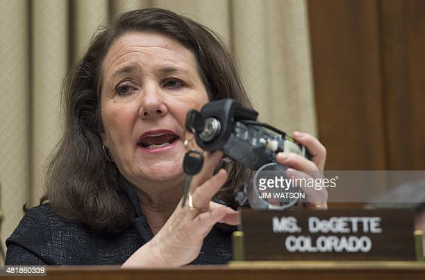 Ranking member of the House Energy and Commerce Committee Congresswoman Diana DeGette DCO holds up the faulty General Motors ignition switch during a...