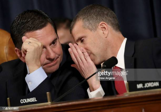 Ranking member of the House Intelligence Committee Rep Devin Nunes and minority counsel Steve Castor confer as top US diplomat to Ukraine William B...