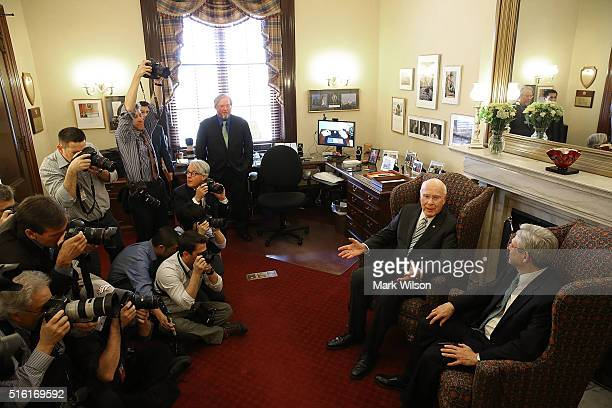 Ranking member of the Senate Judiciary Committee Patrick Leahy , , meets with Judge Merrick B. Garland, , at his office on Capitol Hill , March 17,...