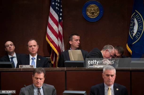 Ranking member Rep Adam Schiff listens as Rep Mike Conaway now leading the House Intelligence investigation after Devin Nunes was forced to recuse...