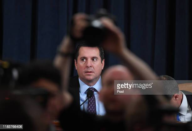 Ranking member Rep Devin Nunes looks on before testimony by Fiona Hill the National Security Council's former senior director for Europe and Russia...
