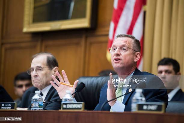 Ranking member Rep Doug Collins RGa right and Chairman Jerrold Nadler DNY conduct a House Judiciary Committee hearing in Rayburn Building that was...